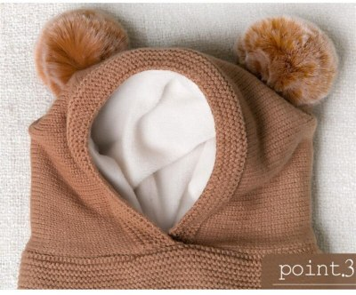 Baby Knit Short Plush  Hooded Scarf Kid Hat And Scarf Child Winter Warm Protection Pom Cap