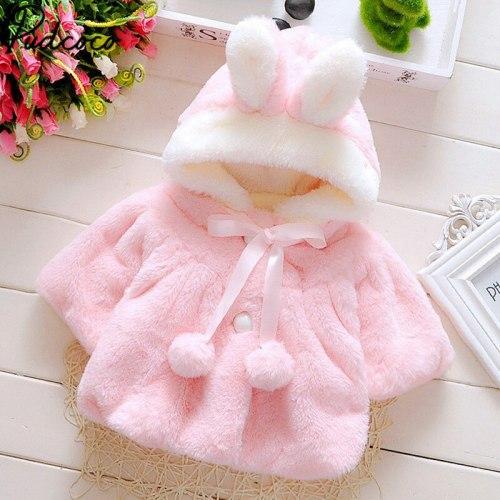 Baby Girls Winter Jackets Warm Faux Fur Fleece Coat Children Jacket Rabbit Ear Hooded Outerwear Kids Jacket for Girls Clothing