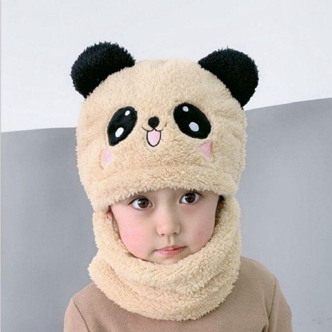 Winter Children Boy Girl Cartoon Panda Velvet Hat Scarf One Piece Cute Baby Cap For Kids Bonnet
