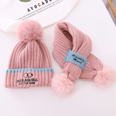 Toddlers Kids Hat and Scarf Set Girls Warm Cable Knit Letters Embroidery Pom Set
