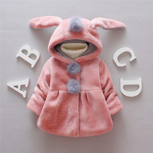 Lovely Baby Girls Jacket with Rabbit Ear Cap Solid Long Sleeve Button-up Coat Children Outerwear