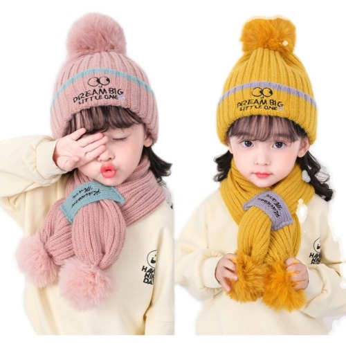 Toddlers Kids Hat and Scarf Set Baby Boys Girls Warm Cable Knit Letters Embroidery Pom Pom Beanie Snood Kit Fleece Skullies