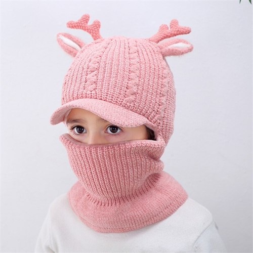 Kids Winter Hat Baby Boy Knit Beanie Fleece Neck Warmer Cartoon Ears Chenille Balaclava Cap for Toddlers Htat 2020