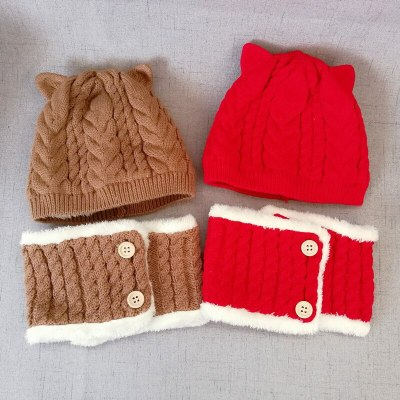 Toddlers Winter Snood Beanie Kit Baby Kids Warm Fleece Hat and Scarf Set
