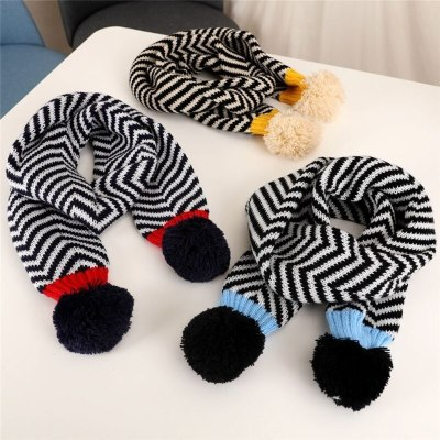 Kids Hat and Scarf Set Children Warm Striped Beanie And Shawl Baby Boys Girls Winter Zebra Pom Pom