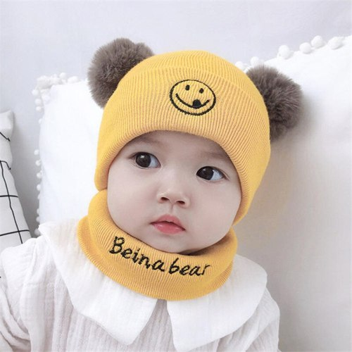 Newborn Toddlers Pompom Beanie Snood Kit Baby Kids Winter Hat and Scarf Set Boy Girl Knit Neck Warmer Infant Cute Smile Skullies