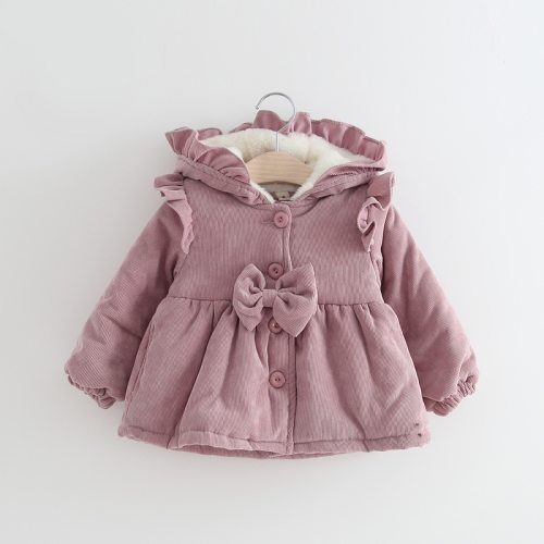 Winter Warm Thicken Corduroy Hooded Outwear Jacket for Little Girls