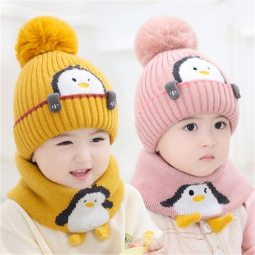 Toddler Kids Warm Knit Hat and Scarf Set Winter Cartoon Snood Beanie Kit Baby Boy Girl Neck Warmer Cute Hat