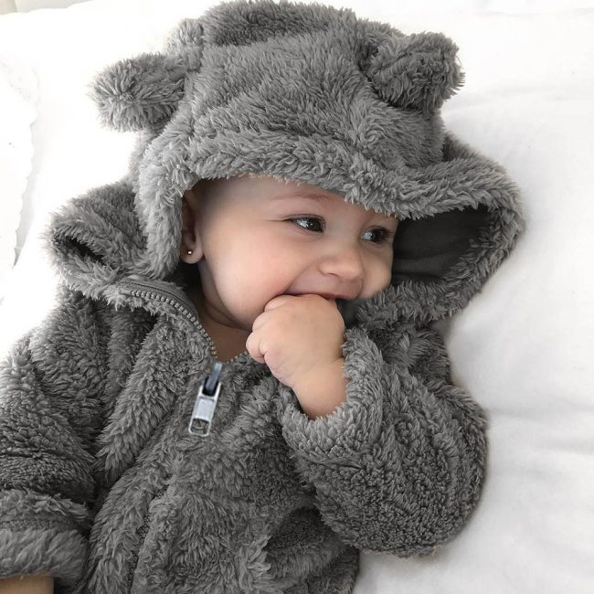Cute Newborn Toddler Baby Boys Girls Fur Hooded Autumn winter Warm Coat Jacket Thick Clothes Outerwear