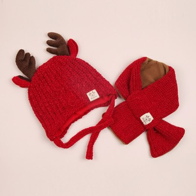 Winter Baby Warmer Knitting Hat with Scarf Cute Cartoon  Infant Cotton Collar Sets