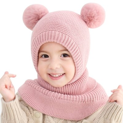 Baby Winter Hat Children's Knit Double Ball Earmuff Hat Fashion Windproof Plus Velvet Warm Solid Caps Kids Hats  Caps for Kids