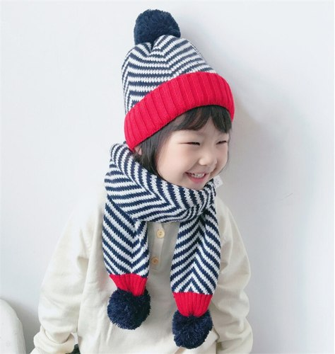 Kids Hat and Scarf Set Children Warm Striped Beanie And Shawl Baby Boys Girls Winter Zebra Pom Pom Hat Scarf Knit Set
