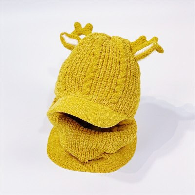 Winter Hat Baby Boy Knit Beanie Fleece Neck Warmer Cartoon Ears Chenille Balaclava Cap for baby