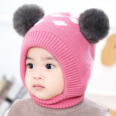 Baby Hat Baby Winter Velvet Ball Ear Cap Kids' Autumn Dot Hat Neck Warmer Cap Newborn Photography Prop for Infant Boys and Girls
