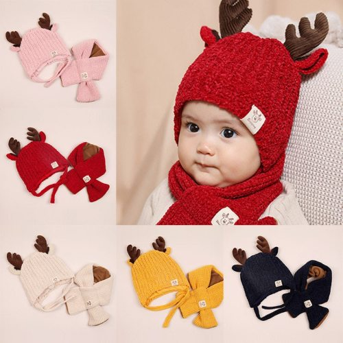 Winter Baby Warmer Knitting Hat with Scarf Cute Cartoon Ear Design Infant Cotton Collar Scarves Neckerchiefs Headwear Sets