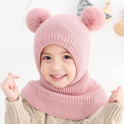 Baby Winter Hat Children's Knit Double Ball Earmuff Hat Fashion Windproof Plus Velvet Warm Solid Caps Kids Hats  Caps for Kids