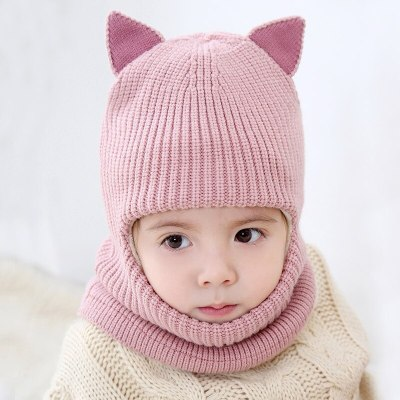 Autumn Winter Baby Hat for Boy Plus Velvet Thickern Windproof Cap Kids One-piece Neck Protector Face Hat for Girls Children Hats