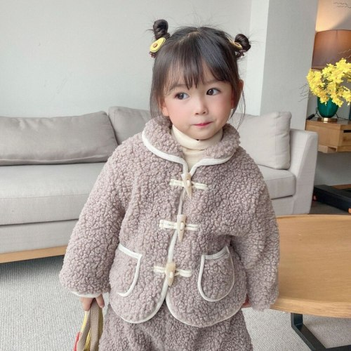 2020 New Style kids coat for Autumn and Winter Coat plus Velvet Turn-down Collar Coat  baby winter jacket