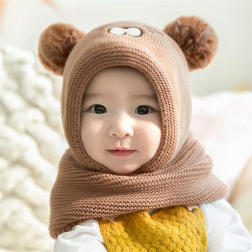Baby Knit Short Plush inlayer Hooded Scarf Kid Hat And Scarf Child Winter Warm Protection Ear Hat Girl Boy Cute Pom Pom Cap