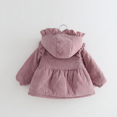 Winter Warm Thicken Corduroy Hooded Outwear Jacket for Little Girls
