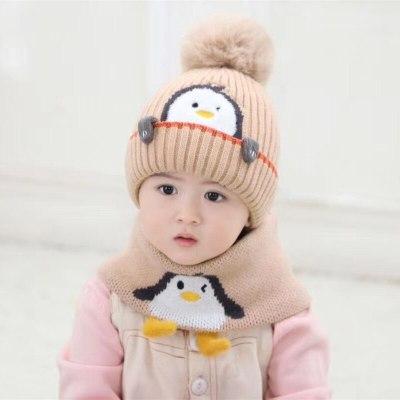 Toddler Hat and Scarf Set Winter Cartoon Snood Beanie Kit  Warmer Hat