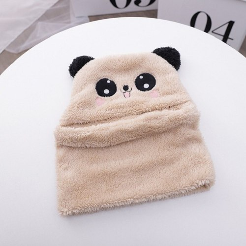 Winter Children Boy Girl Cartoon Panda Velvet Hat Scarf One Piece Cute Baby Cap For Kids Bonnet