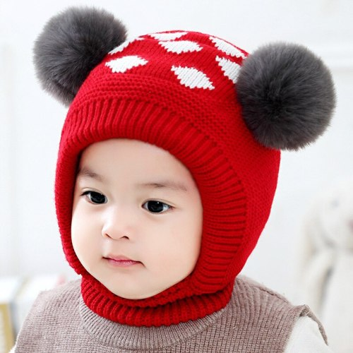 Baby Hat Baby Winter Velvet Ball Ear Cap Kids' Autumn Dot Hat Neck Warmer Cap Newborn Photography Prop for Infant Boys and Girls