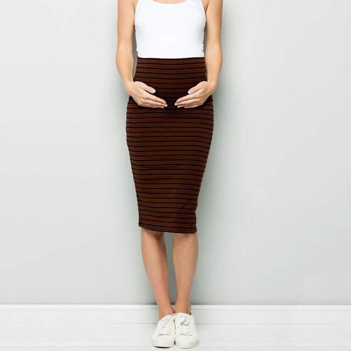 Maternity Comfort High Waisted Tummy Stripe Pencil Skirt Women Maternity Skirt corset striped for pregnant woman clothes