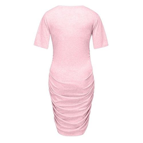 Maternity Dresses Women Pregnant Short Sleeve Pregnant Maternity  Dress Solid Skirt