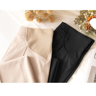 Length Thin Wide Leg Maternity Pants Elastic Waist Belly Trousers Clothes for Pregnant Women