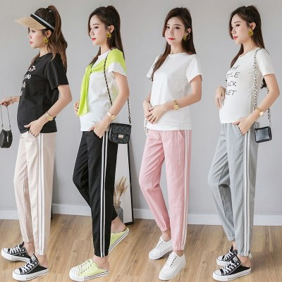 Spring Summer Fashion Maternity Jogger Pants Elastic Waist Belly Pants Clothes for Pregnant Women Thin Pregnancy Trousers