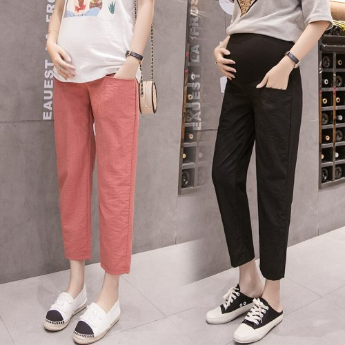 Length Summer Thin Linen Maternity Pants Elastic Waist Belly Pants Clothes for Pregnant Women Pregnancy Short Trousers