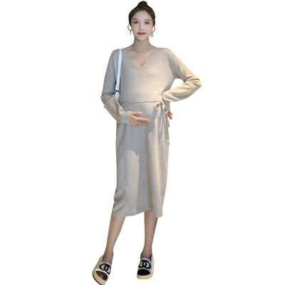 Autumn Winter Thick Knitted Maternity Dress V neck Ties Waist Straight Loose Dress Clothes for Pregnant Women Pregnancy
