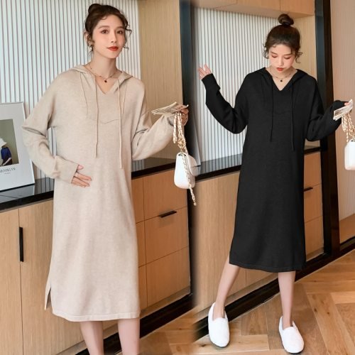 Autumn Winter Thick Warm Knitted Maternity Long Dress Hoodies Loose Dress Clothes for Pregnant Women Pregnancy Casual Wear