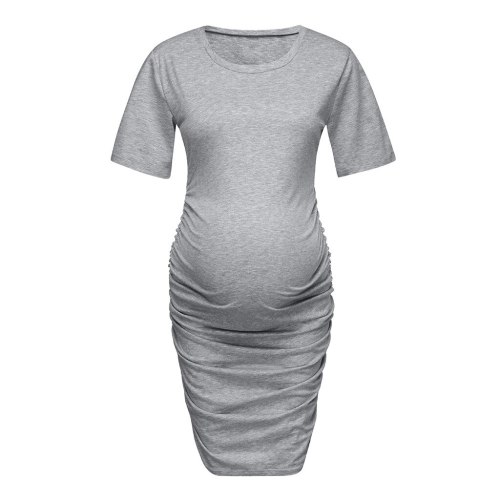 Maternity Dresses Women Pregnant Short Sleeve Pregnant Maternity  Dress Solid Skirt