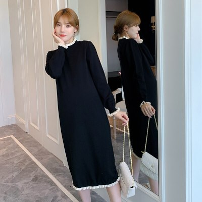 Autumn Black Knitted Maternity Long Dress Elegant Slim Korean Fashion Pregnancy Dress