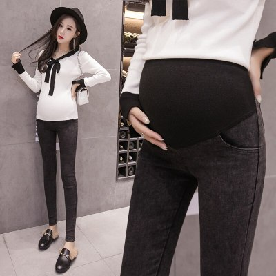Wahsed Stretch Denim Skinny Maternity Jeans Adjustable Belly Pencil Pants Clothes for Pregnant Women Pregnancy Trousers