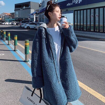 New Autumn Winter Faux Fur Coat Women Clothes Korean Casual Long-sleeved Lamb Wool Jacket Plus Size Loose Hooded Long Coat