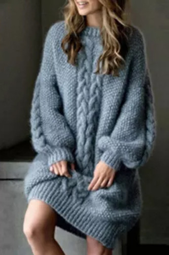 New Autumn and Winter Women's Fashion Long Sleeves Pure Color Casual O-neck Knitting Sexy Outfits Sweater Dress Pullovers