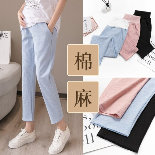 Summer Thin Linen Maternity Pants Low Waist Cotton Belly Pants Clothes for Pregnant Women Pregnancy Casual Trousers