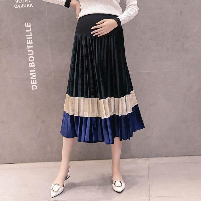 New Korean version of spring and autumn pregnant women stomach lift pleated rainbow velvet skirt pregnancy skirt