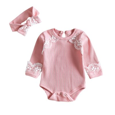 Newborn Baby Bodysuit Long Sleeve Lace Ruffles Bodysuit+headband Outfits 3m-24t Baby Clothes