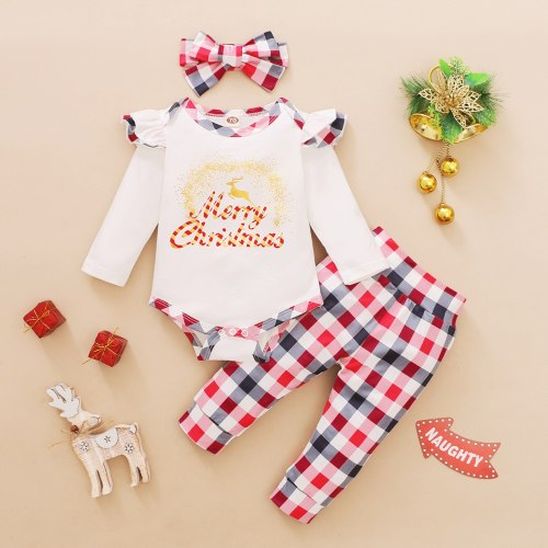 Fashion Christmas Clothes Newborn Infant Baby Christmas Ruffle Print Romper Bodysuit+plaid Pants Set