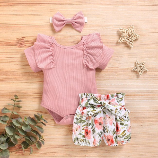 Girl Summer Clothes Sets Infant Baby Girls Solid Frill Romper+Floral Print Shorts+Headband Outfit