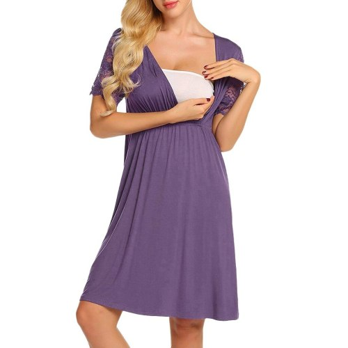 Maternity Pajama Women's Nursing Nightgown Pregnancy Dress Lace Splice Maternity Dress