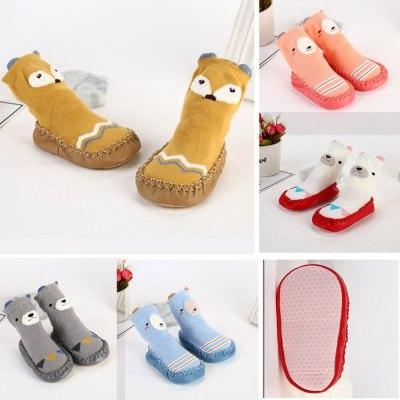Kids Toddler Baby Girls Boys Cartoon Animal Thick Warm Anti-Slip Socks Slippers Casual Non Slip Indoor Socks