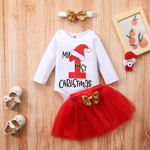 My First Christmas Newborn Baby Girls Clothes Christmas Cartoon Long Sleeve Romper +bowknot Tulle Skirt Set
