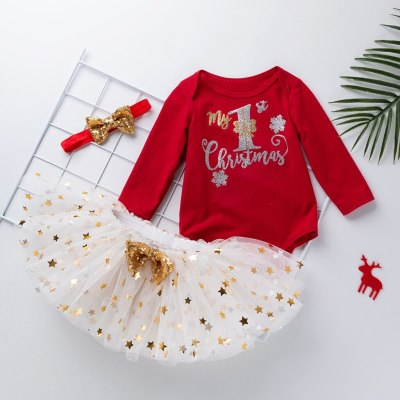 Toddler Girl Fall Boutique Clothes 2020 Christmas Day Long-sleeved Tops Net Yarn Star Romper Tutu Dress