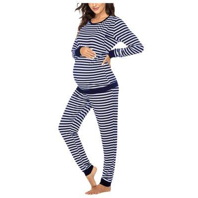 Maternity Long Sleeve Nursing T-shirt Tops+Striped Pants Pajamas Set Suit