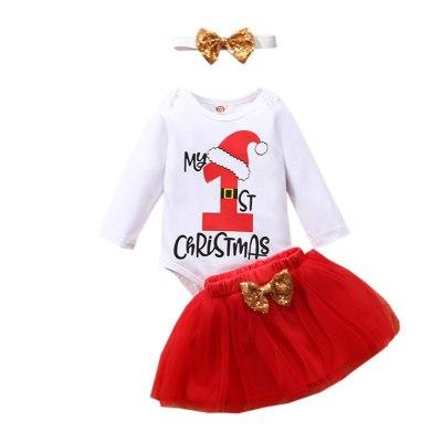 My First Christmas Newborn Baby Girls Clothes Christmas Cartoon Long Sleeve Romper +bowknot Tulle Skirt Set
